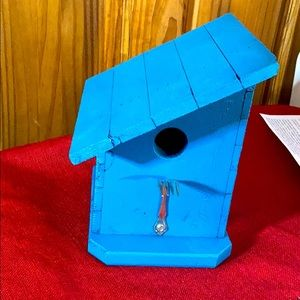 Turquoise blue real birdhouse